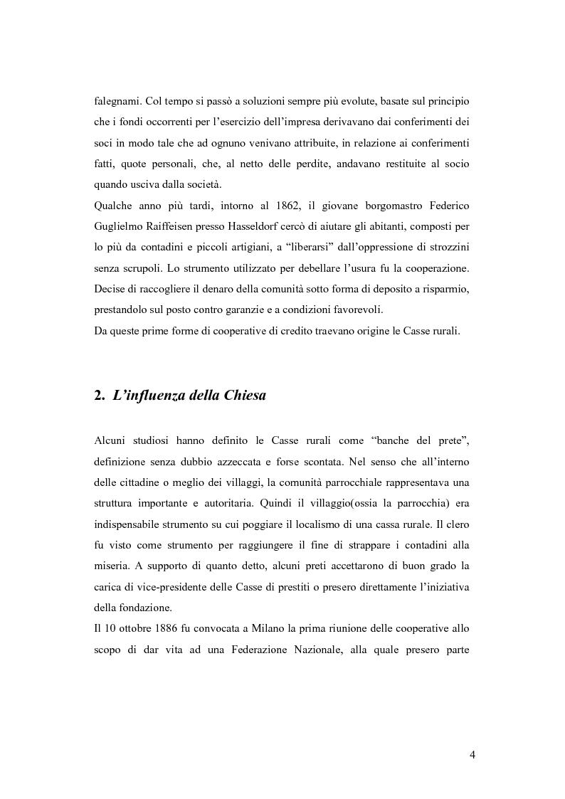 Anteprima della tesi: Dalle casse rurali ed artigiane alle banche di credito cooperativo (con particolare riferimento alla Toscana), Pagina 4