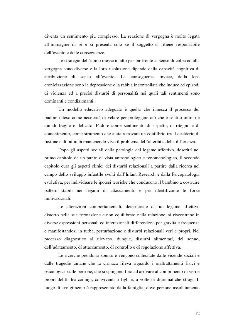 Anteprima della tesi: Il legame affettivo tra con-fusione e identità. Psicopatologia della relazione affettiva., Pagina 10