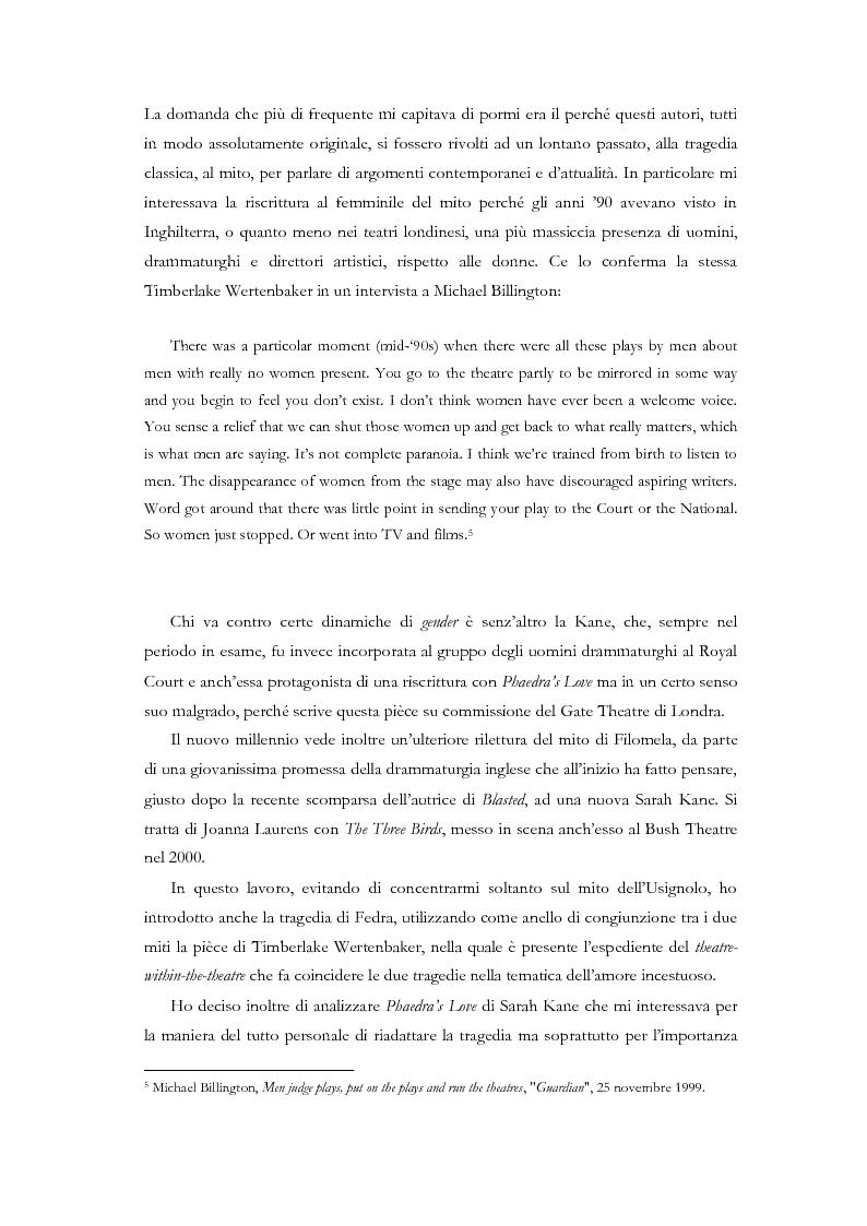 Anteprima della tesi: Fedra e l'Usignolo. Riscrittura del mito nel teatro di Timberlake Wertenbaker e Sarah Kane, Pagina 4