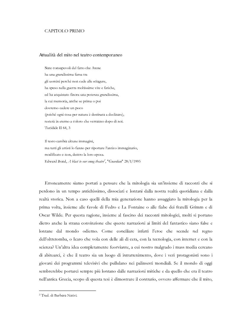 Anteprima della tesi: Fedra e l'Usignolo. Riscrittura del mito nel teatro di Timberlake Wertenbaker e Sarah Kane, Pagina 7