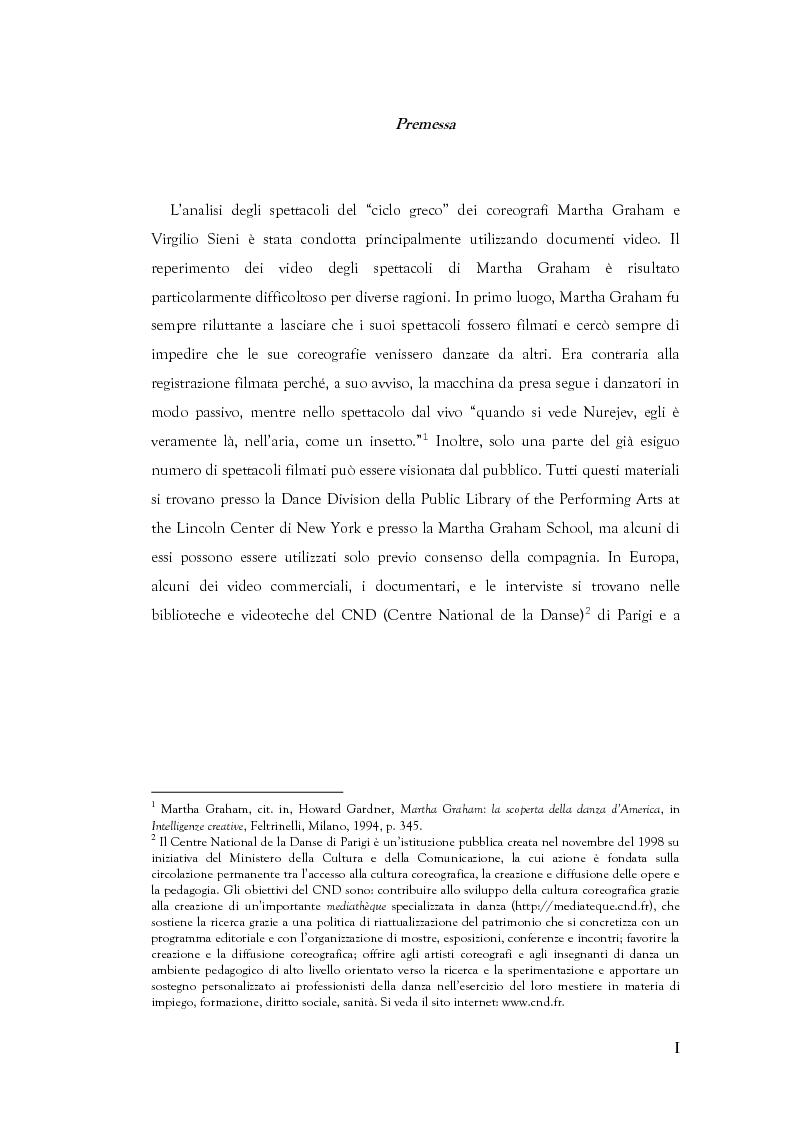 Anteprima della tesi: Mito e Tragedia nella coreografia di Martha Graham e Virgilio Sieni, Pagina 1