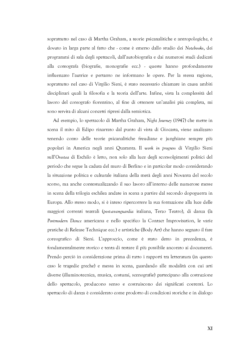 Anteprima della tesi: Mito e Tragedia nella coreografia di Martha Graham e Virgilio Sieni, Pagina 11