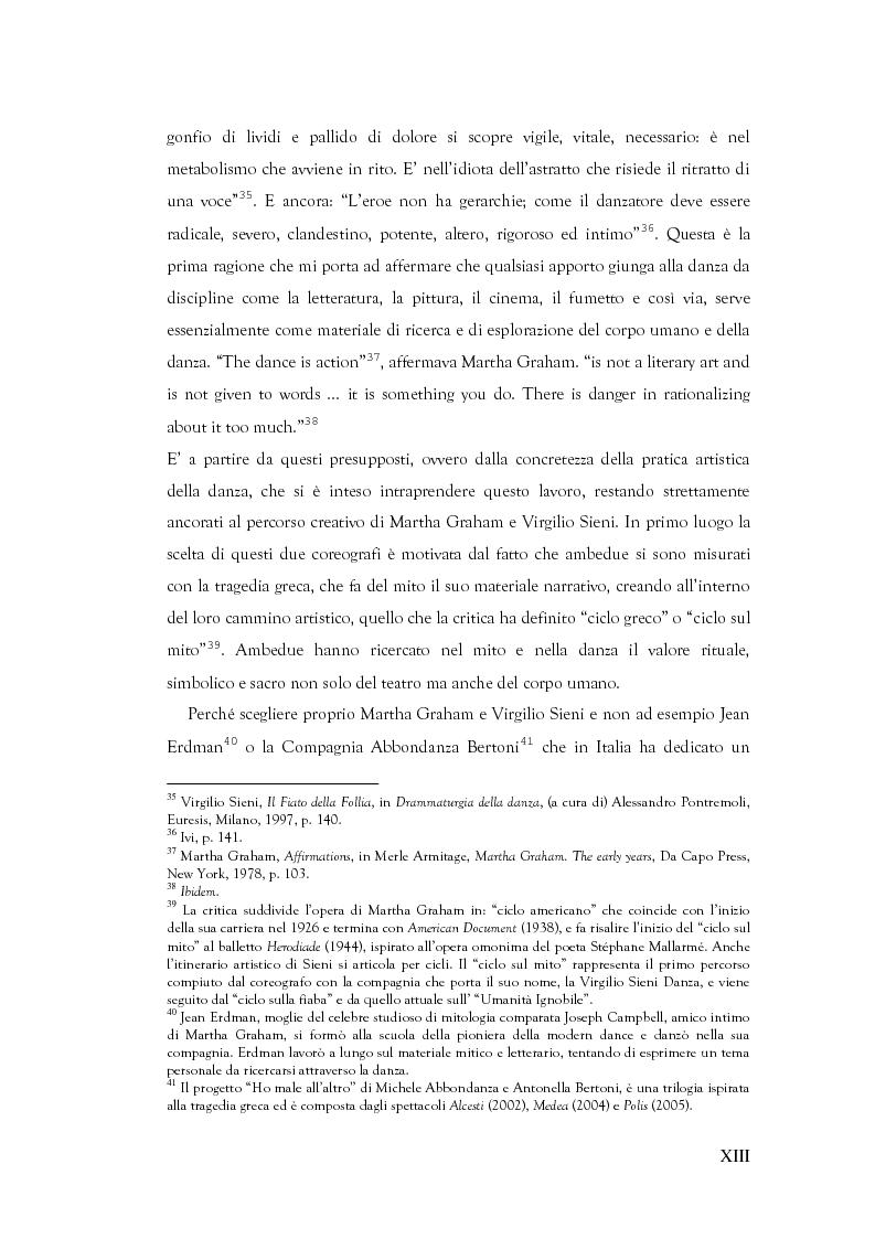 Anteprima della tesi: Mito e Tragedia nella coreografia di Martha Graham e Virgilio Sieni, Pagina 13