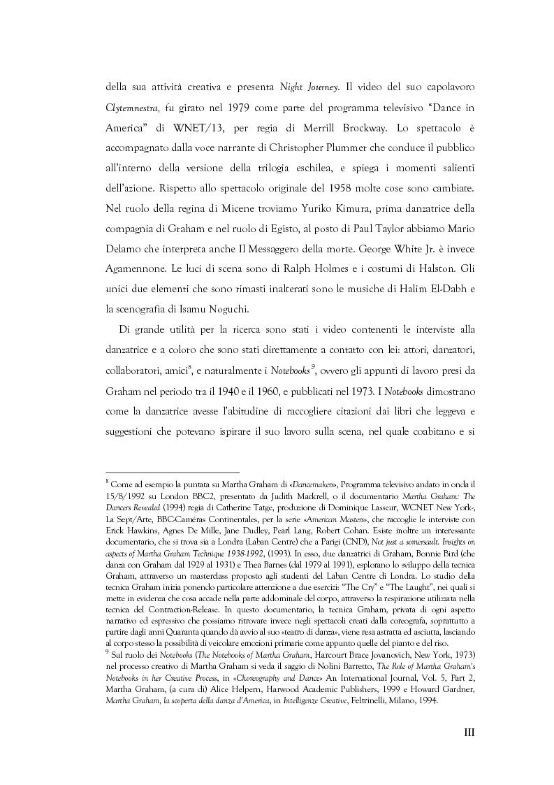 Anteprima della tesi: Mito e Tragedia nella coreografia di Martha Graham e Virgilio Sieni, Pagina 3