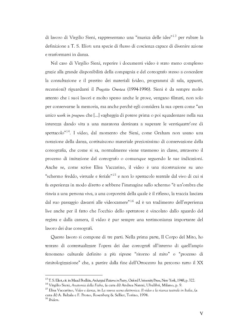 Anteprima della tesi: Mito e Tragedia nella coreografia di Martha Graham e Virgilio Sieni, Pagina 5