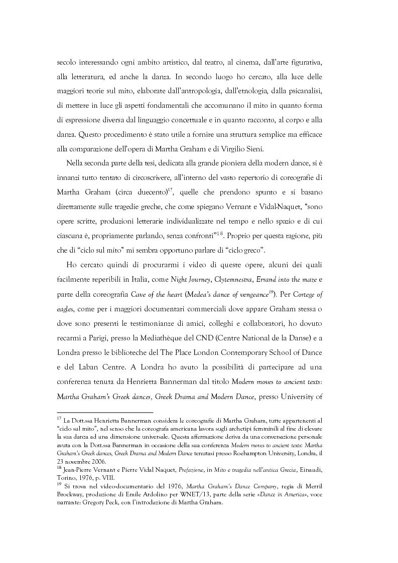 Anteprima della tesi: Mito e Tragedia nella coreografia di Martha Graham e Virgilio Sieni, Pagina 6