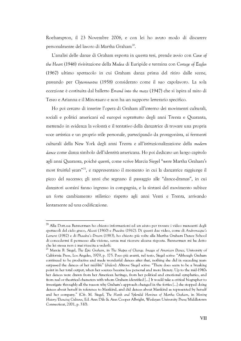 Anteprima della tesi: Mito e Tragedia nella coreografia di Martha Graham e Virgilio Sieni, Pagina 7