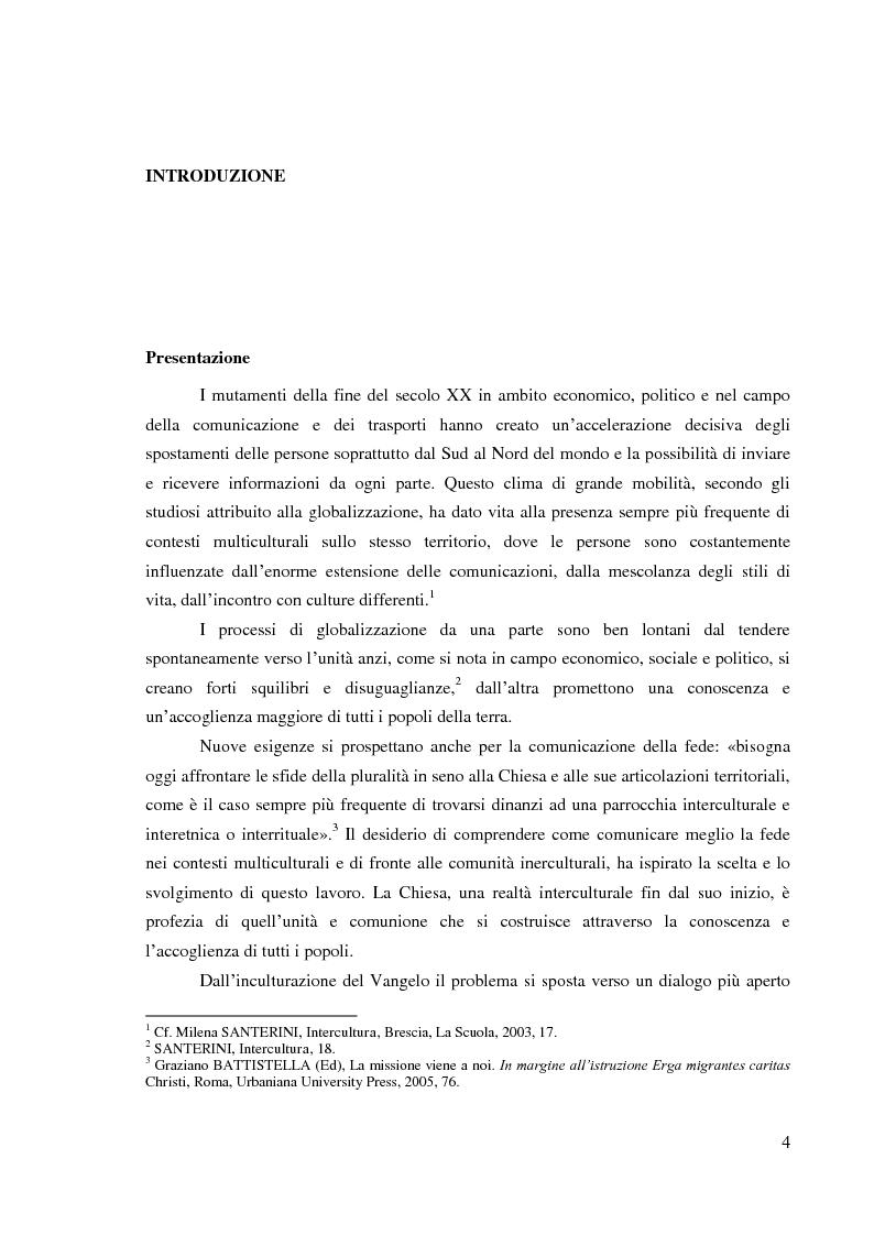 Anteprima della tesi: Comunicazione delle fede in un contesto multiculturale. L'esempio di alcune comunità di immigrati a Roma., Pagina 1