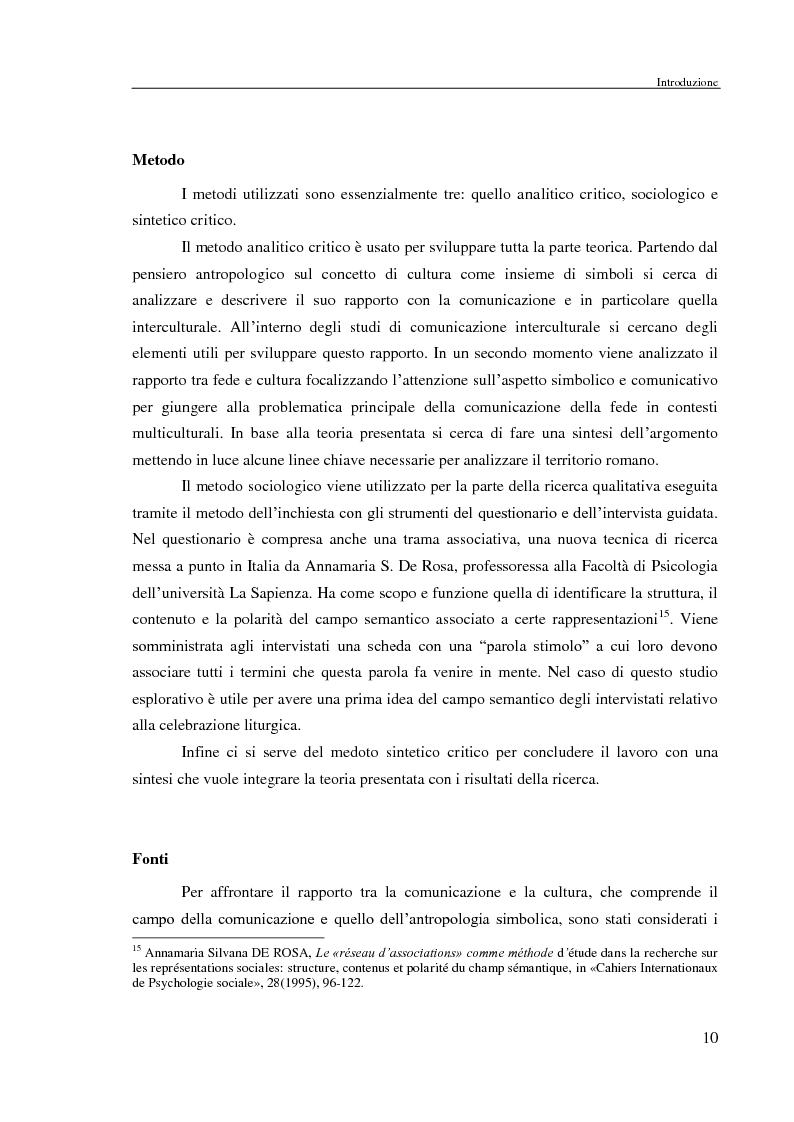 Anteprima della tesi: Comunicazione delle fede in un contesto multiculturale. L'esempio di alcune comunità di immigrati a Roma., Pagina 7