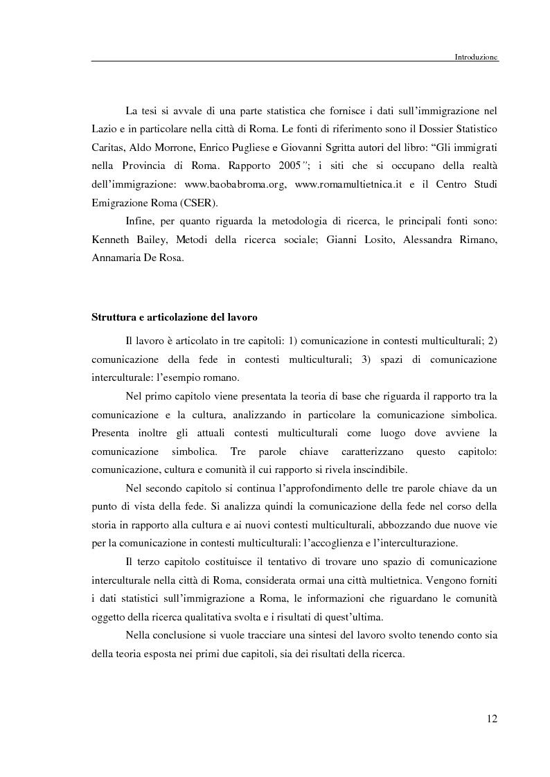 Anteprima della tesi: Comunicazione delle fede in un contesto multiculturale. L'esempio di alcune comunità di immigrati a Roma., Pagina 9