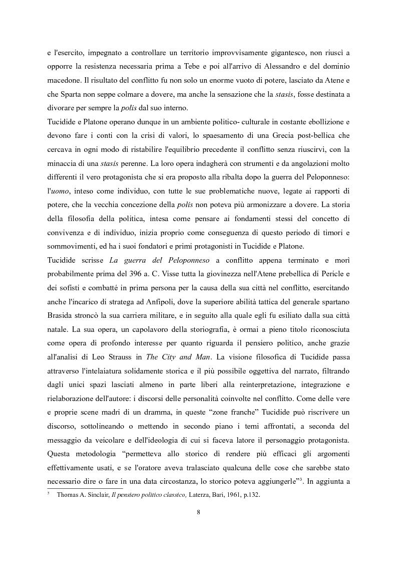 Anteprima della tesi: Tucidide e Platone - La crisi della città tra storia e filosofia della politica, Pagina 4