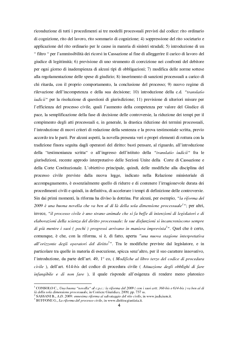 Anteprima della tesi: L'attuazione degli obblighi di fare infungibile e di non fare (Art. 614 bis c.p.c.), Pagina 2