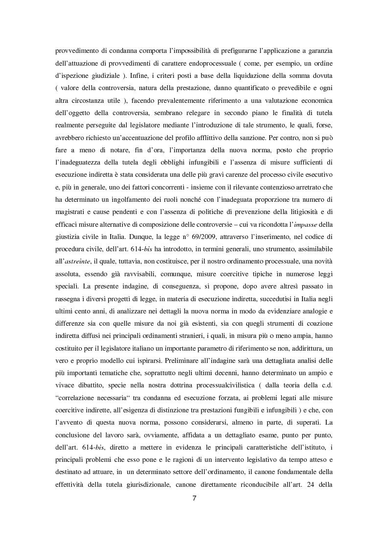 Anteprima della tesi: L'attuazione degli obblighi di fare infungibile e di non fare (Art. 614 bis c.p.c.), Pagina 5