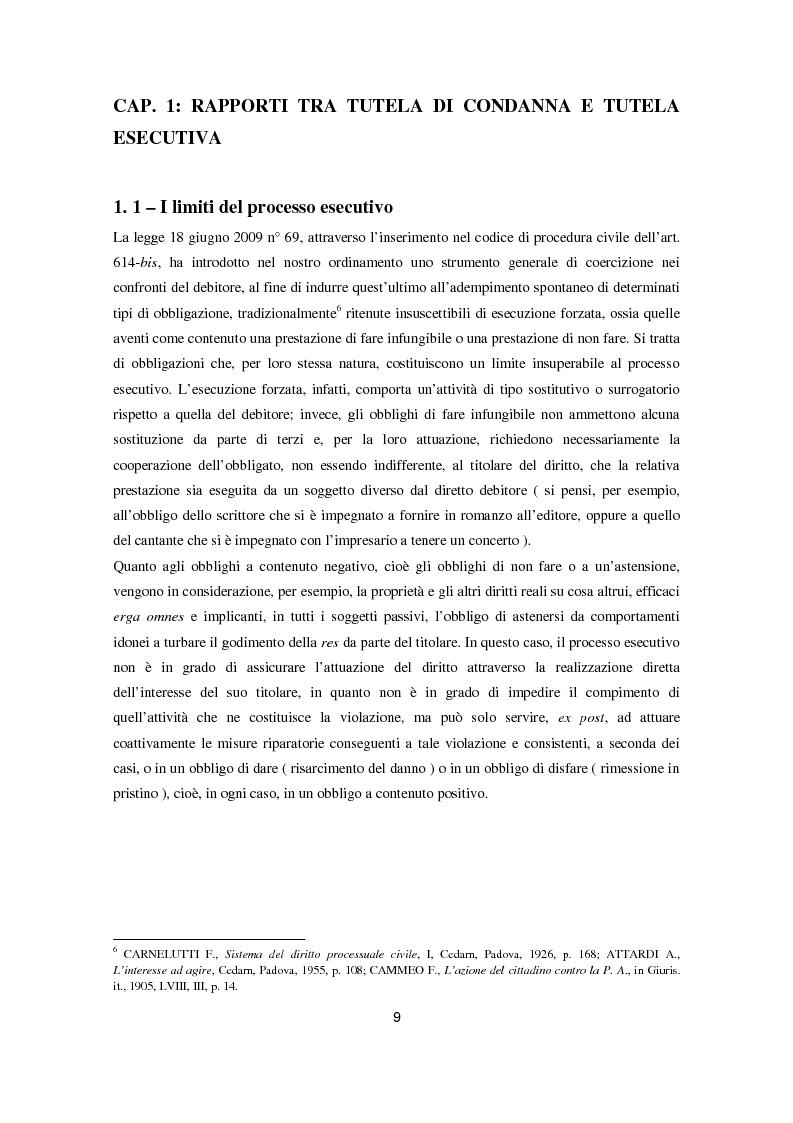 Anteprima della tesi: L'attuazione degli obblighi di fare infungibile e di non fare (Art. 614 bis c.p.c.), Pagina 7