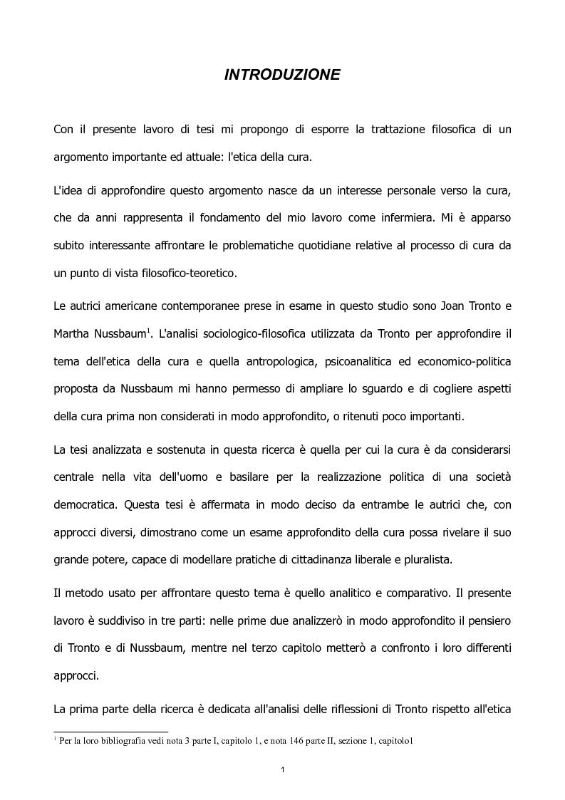 Anteprima della tesi: L'etica della cura: le tesi di J. Tronto e M. Nussbaum a confronto, Pagina 1