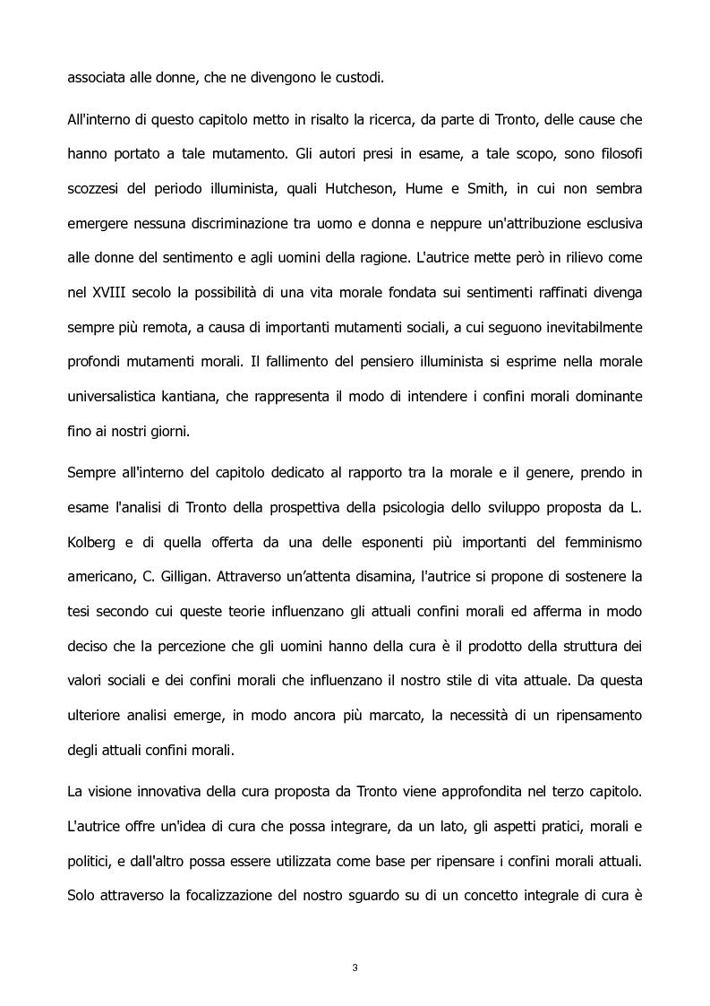 Anteprima della tesi: L'etica della cura: le tesi di J. Tronto e M. Nussbaum a confronto, Pagina 3