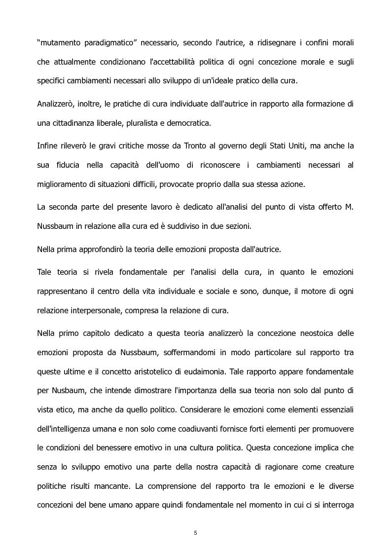Anteprima della tesi: L'etica della cura: le tesi di J. Tronto e M. Nussbaum a confronto, Pagina 5