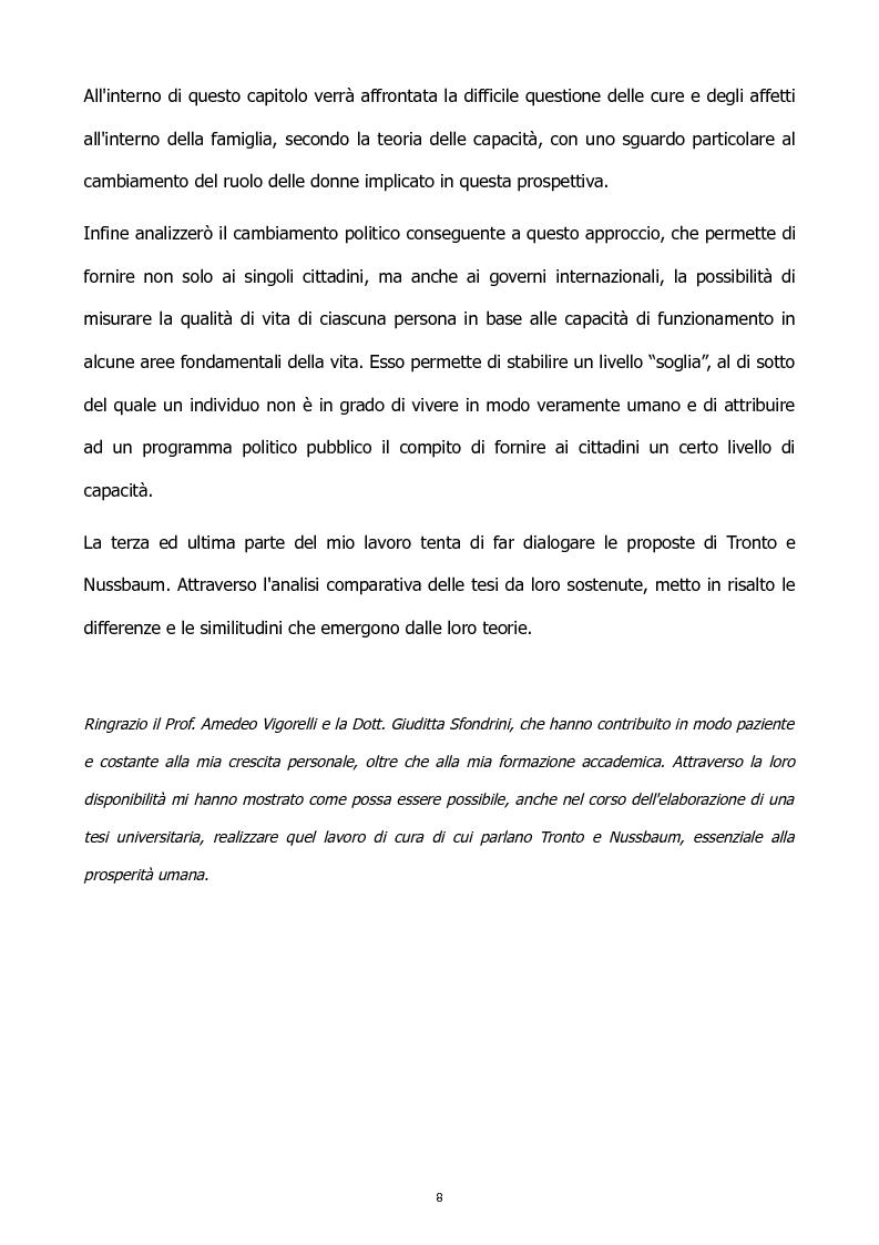 Anteprima della tesi: L'etica della cura: le tesi di J. Tronto e M. Nussbaum a confronto, Pagina 8