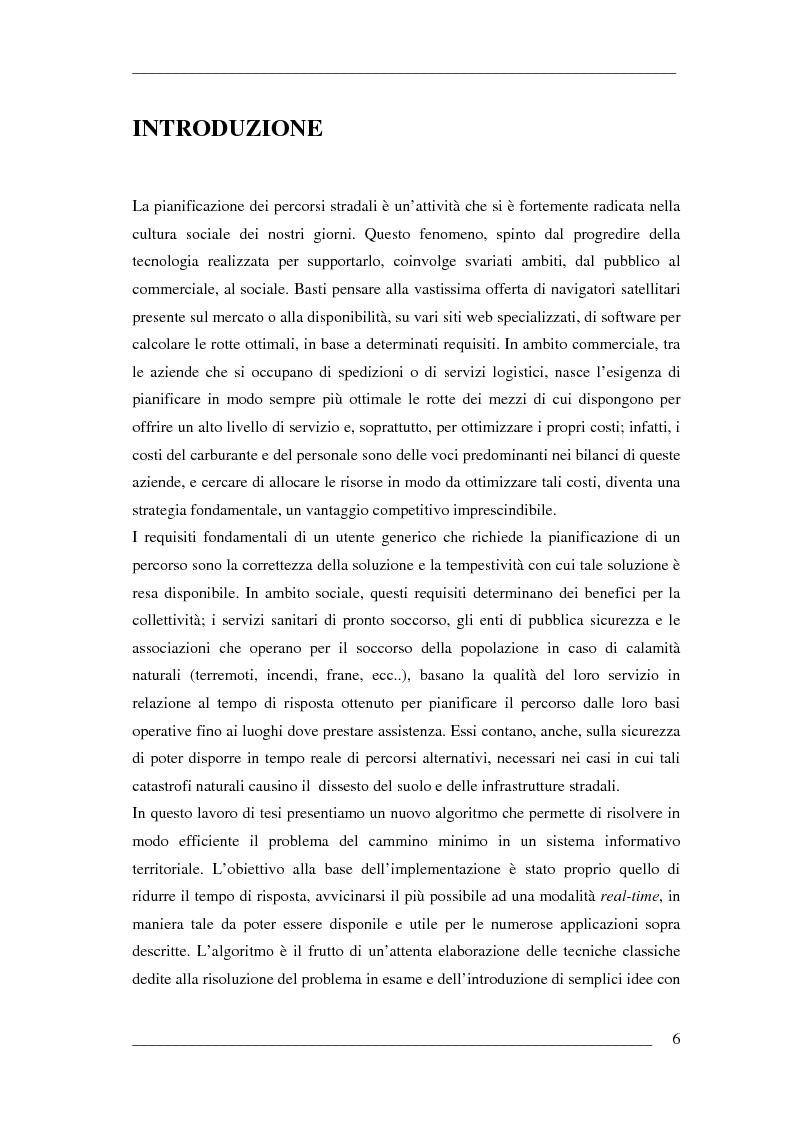 Anteprima della tesi: Un algoritmo efficiente di cammino minimo per sistemi informativi territoriali, Pagina 1