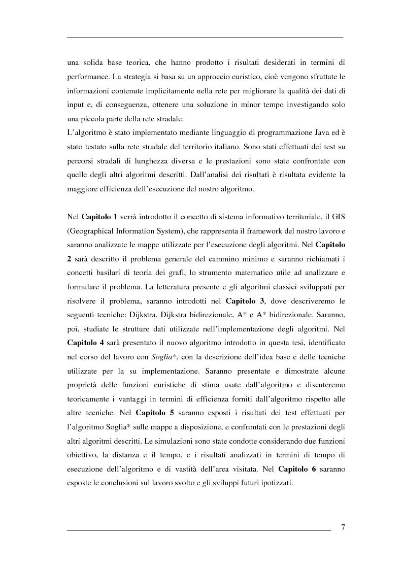 Anteprima della tesi: Un algoritmo efficiente di cammino minimo per sistemi informativi territoriali, Pagina 2