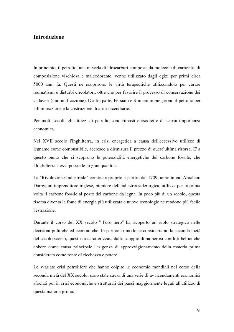 Anteprima della tesi: Il mercato petrolifero: gli strumenti di formazione dei prezzi e le conseguenze macroeconomiche, Pagina 1