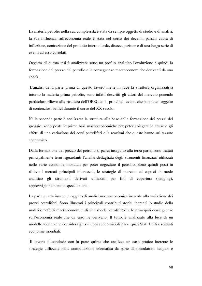 Anteprima della tesi: Il mercato petrolifero: gli strumenti di formazione dei prezzi e le conseguenze macroeconomiche, Pagina 2
