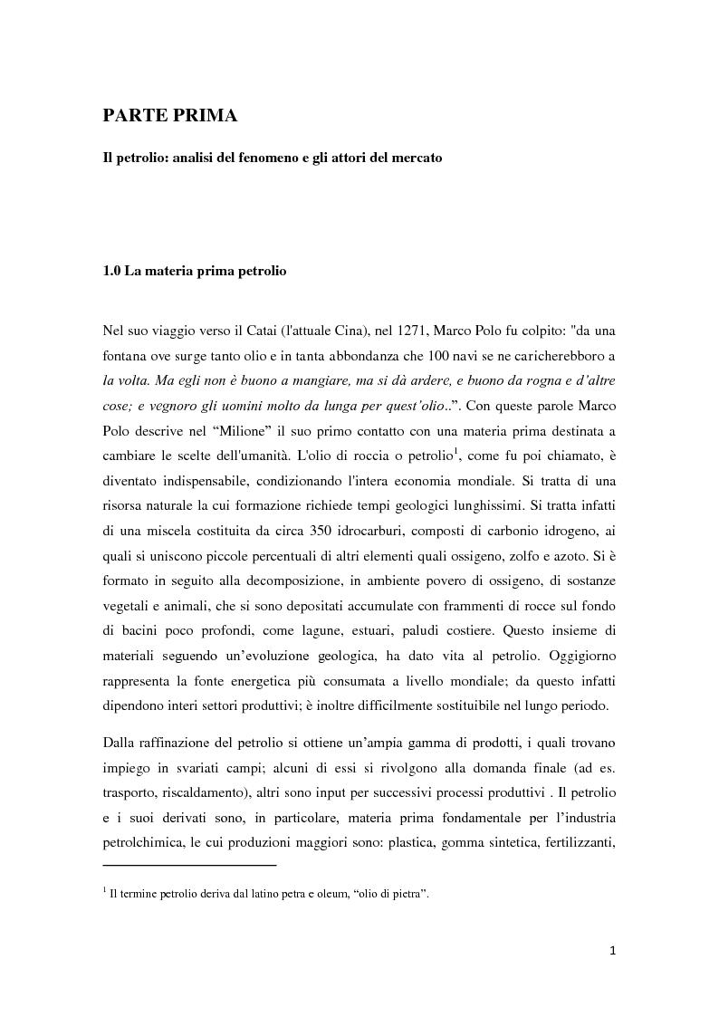 Anteprima della tesi: Il mercato petrolifero: gli strumenti di formazione dei prezzi e le conseguenze macroeconomiche, Pagina 4