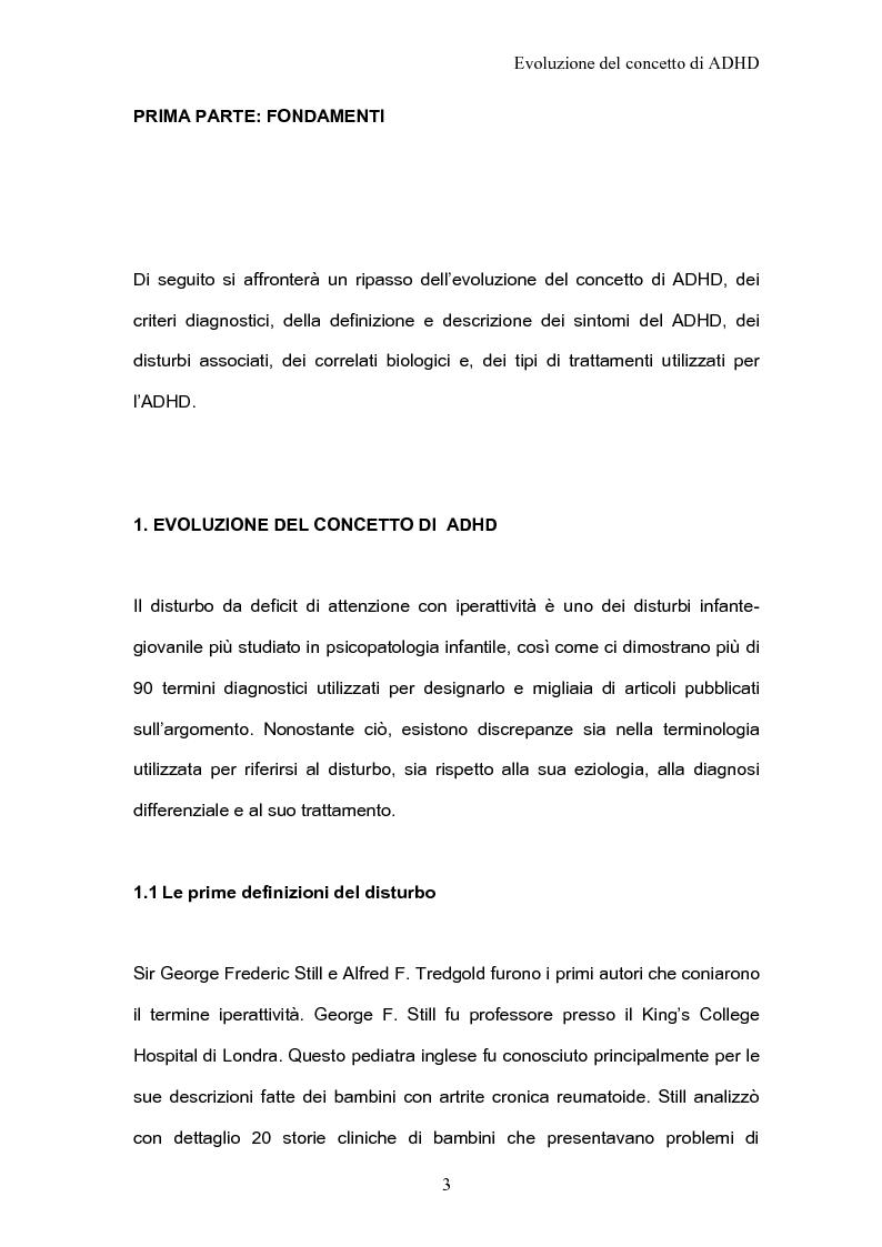 Anteprima della tesi: ADHD Disturbo da deficit dell'attenzione e iperattività: basi psicologiche neuroanatomiche e genetiche, Pagina 1