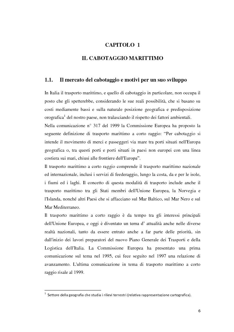 Anteprima della tesi: Il trasporto merci e passeggeri: il caso Grandi Navi Veloci, Pagina 1