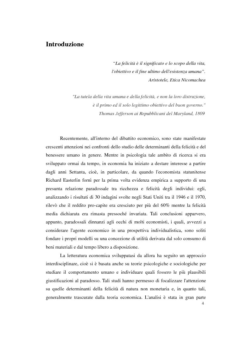 Anteprima della tesi: Felicità e relazioni interpersonali in economia: teoria e analisi empirica, Pagina 1