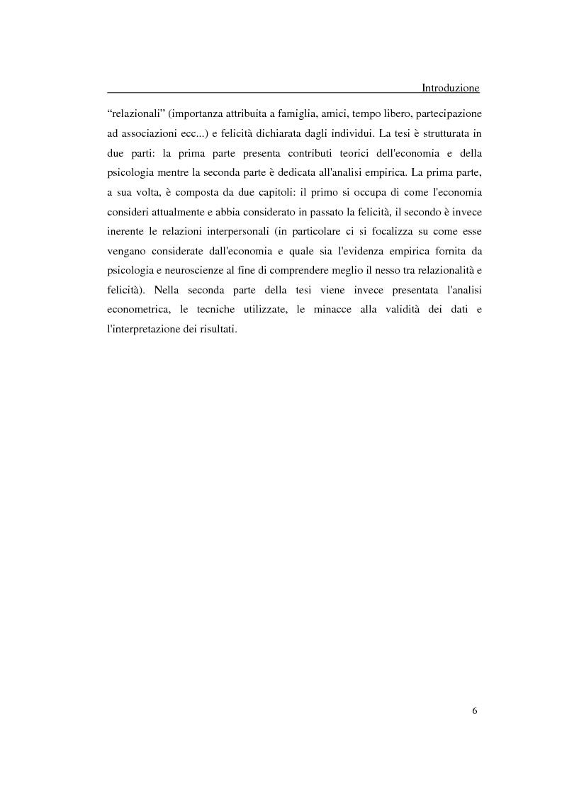 Anteprima della tesi: Felicità e relazioni interpersonali in economia: teoria e analisi empirica, Pagina 3