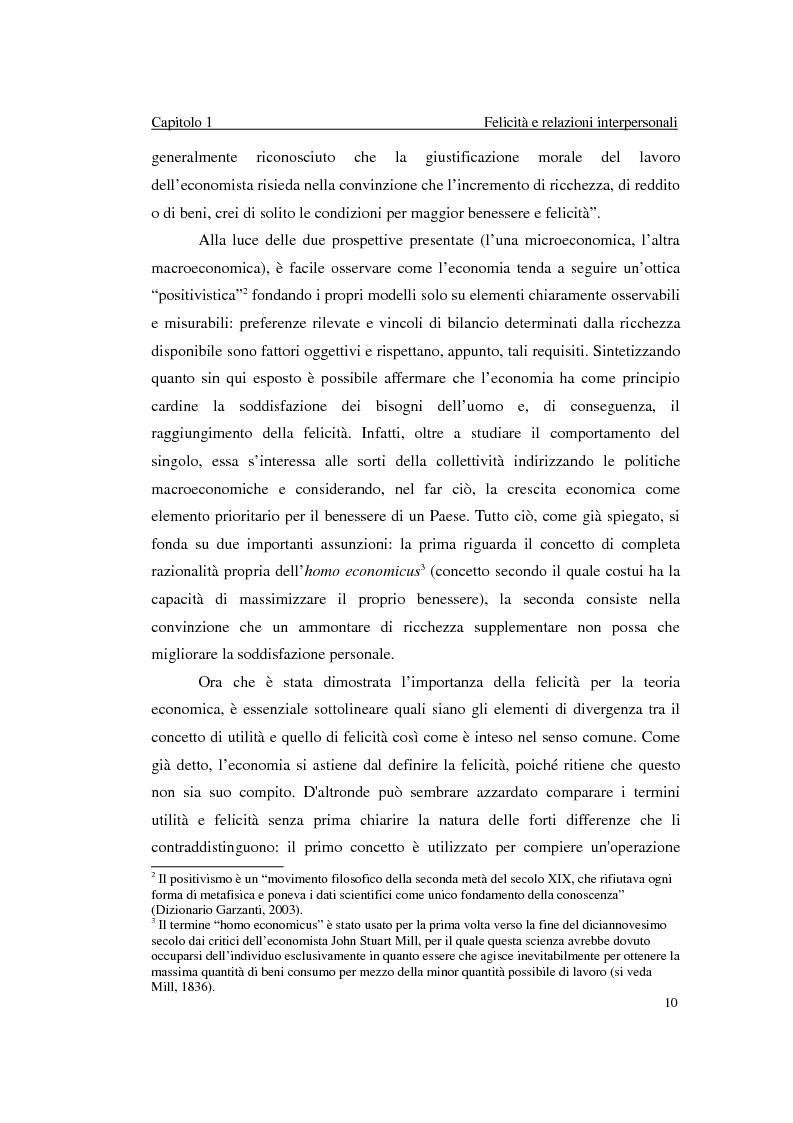 Anteprima della tesi: Felicità e relazioni interpersonali in economia: teoria e analisi empirica, Pagina 7