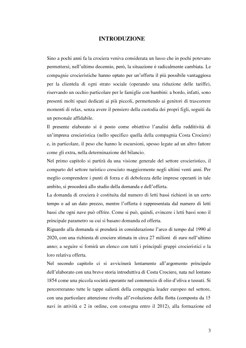 Anteprima della tesi: Il peso delle escursioni nella determinazione della redditività di un'impresa crocieristica: il caso Costa Crociere, Pagina 1