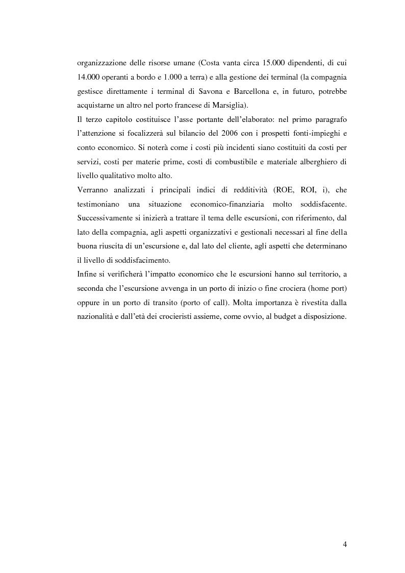 Anteprima della tesi: Il peso delle escursioni nella determinazione della redditività di un'impresa crocieristica: il caso Costa Crociere, Pagina 2