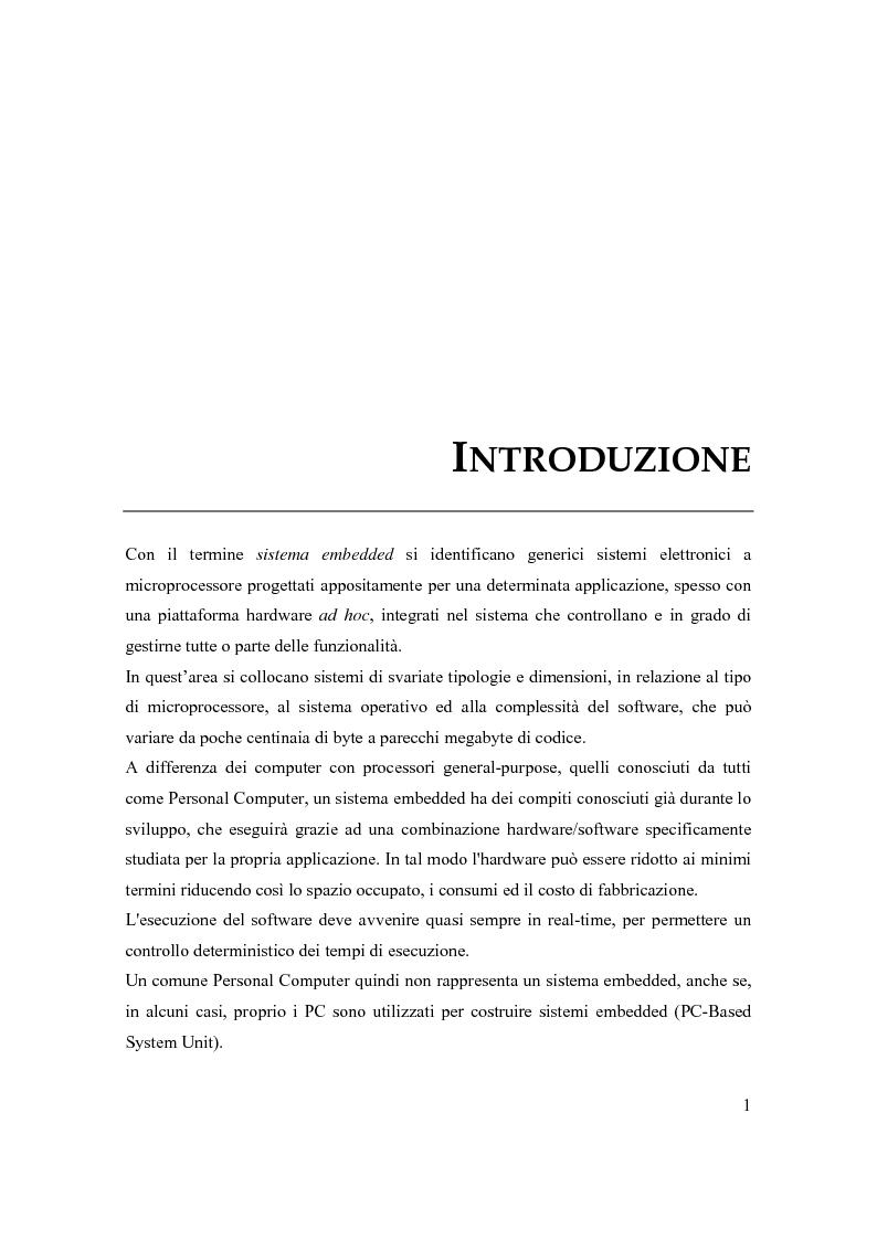 Anteprima della tesi: Principi di progetto di sistemi embedded, Pagina 1