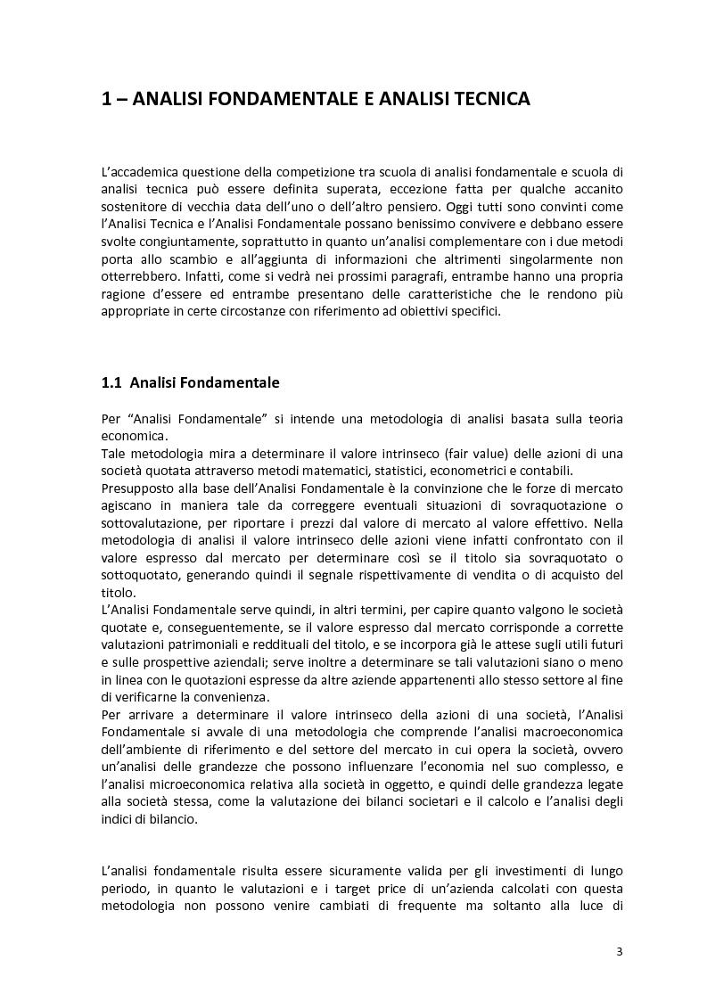 Anteprima della tesi: Analisi tecnica e trading con le opzioni, Pagina 1
