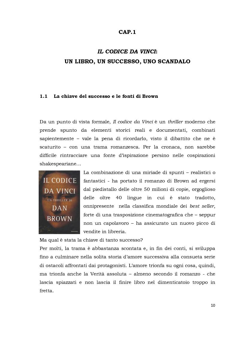 Anteprima della tesi: Il codice da Vinci vs Opus Dei: scontro frontale tra vero, verosimile, fiction e mistero. Dal caso letterario al dibattito mediatico, Pagina 1