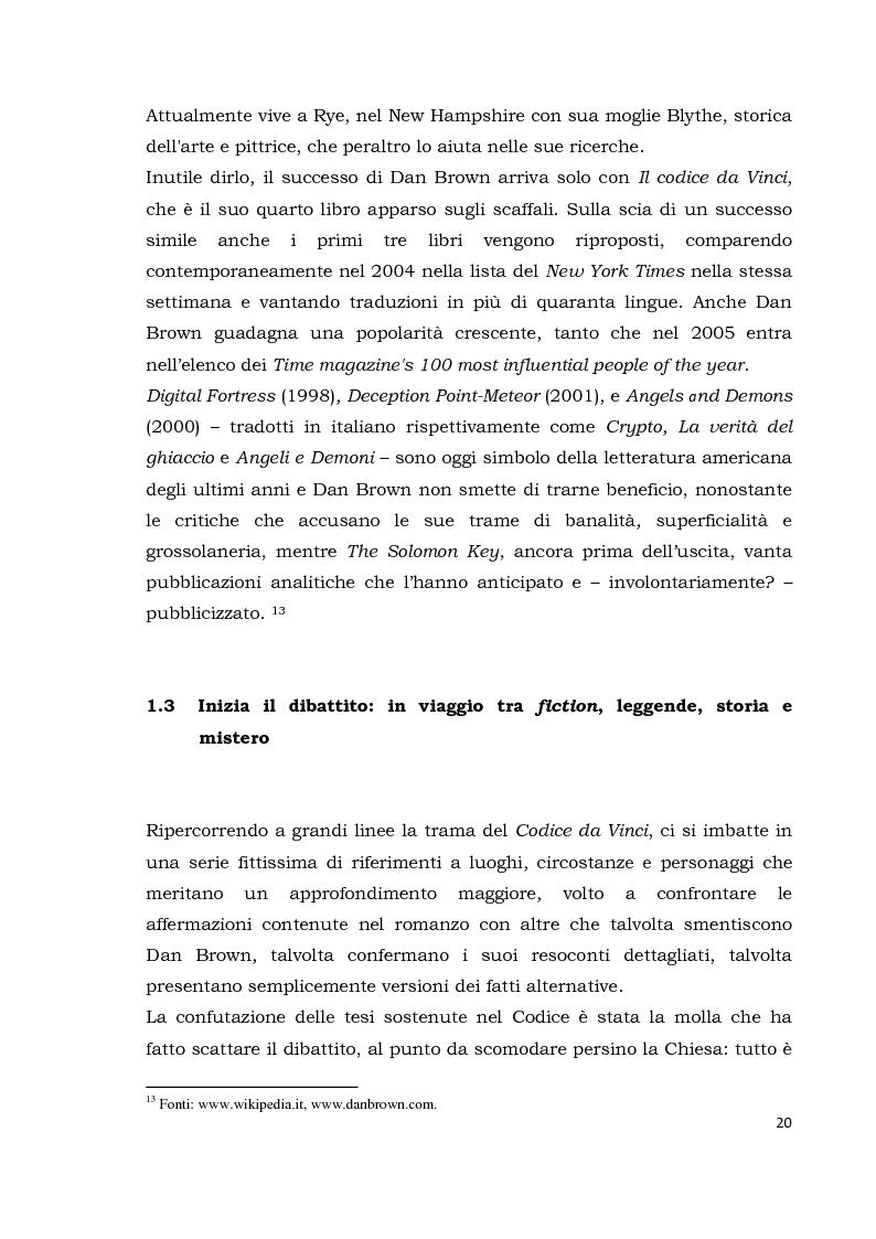 Anteprima della tesi: Il codice da Vinci vs Opus Dei: scontro frontale tra vero, verosimile, fiction e mistero. Dal caso letterario al dibattito mediatico, Pagina 11