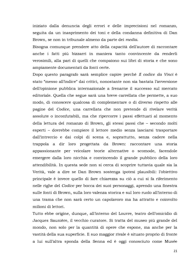 Anteprima della tesi: Il codice da Vinci vs Opus Dei: scontro frontale tra vero, verosimile, fiction e mistero. Dal caso letterario al dibattito mediatico, Pagina 12