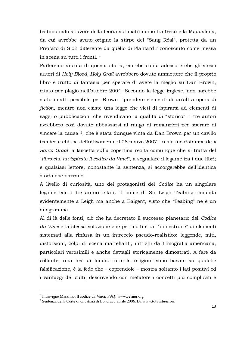 Anteprima della tesi: Il codice da Vinci vs Opus Dei: scontro frontale tra vero, verosimile, fiction e mistero. Dal caso letterario al dibattito mediatico, Pagina 4