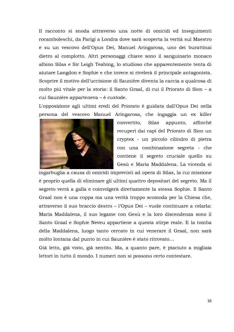 Anteprima della tesi: Il codice da Vinci vs Opus Dei: scontro frontale tra vero, verosimile, fiction e mistero. Dal caso letterario al dibattito mediatico, Pagina 7