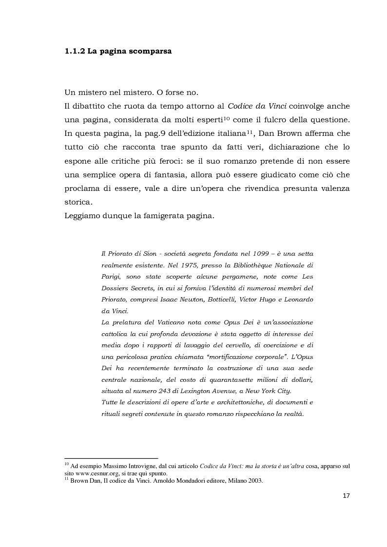 Anteprima della tesi: Il codice da Vinci vs Opus Dei: scontro frontale tra vero, verosimile, fiction e mistero. Dal caso letterario al dibattito mediatico, Pagina 8