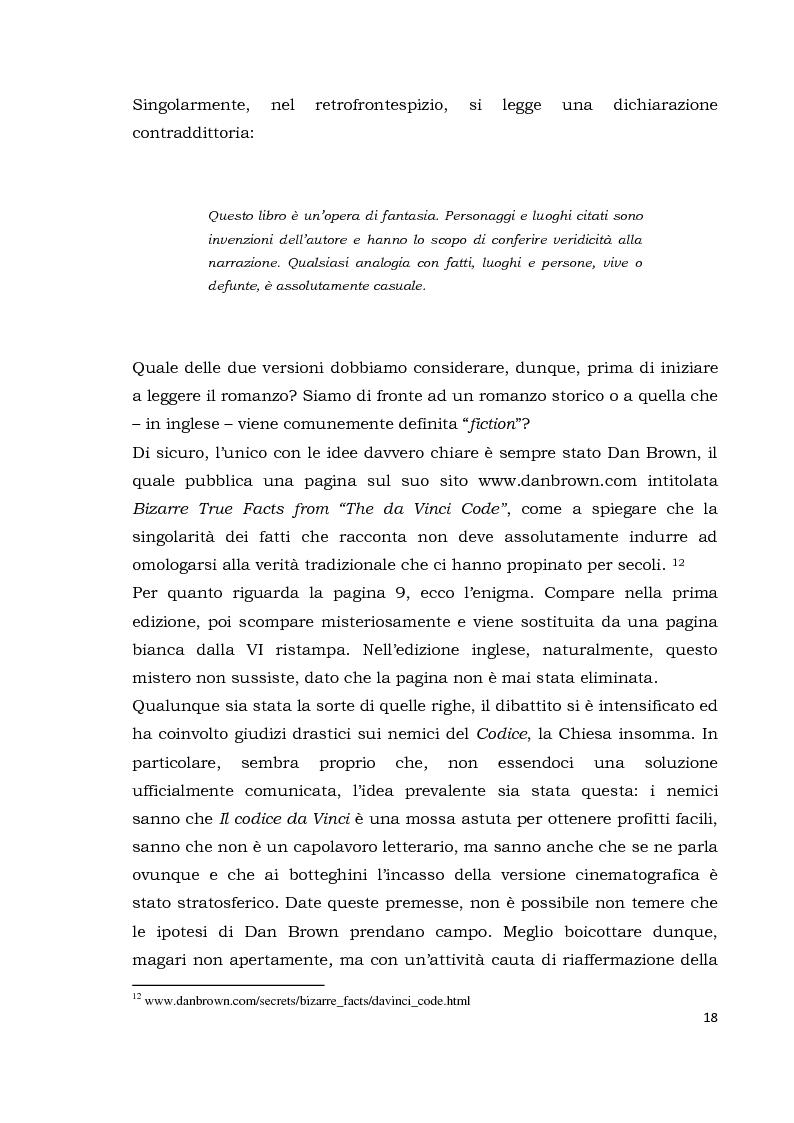 Anteprima della tesi: Il codice da Vinci vs Opus Dei: scontro frontale tra vero, verosimile, fiction e mistero. Dal caso letterario al dibattito mediatico, Pagina 9