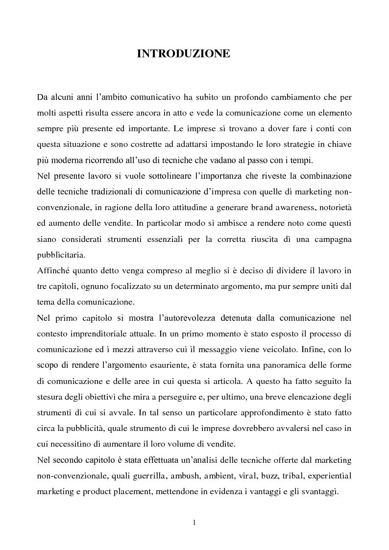 Anteprima della tesi: Pubblicità e marketing non convenzionale per il lancio del marchio Dr, Pagina 1