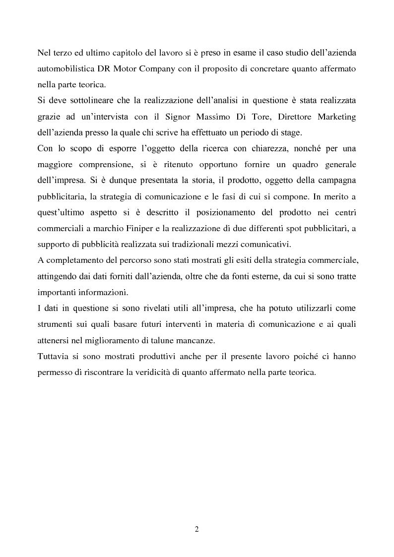 Anteprima della tesi: Pubblicità e marketing non convenzionale per il lancio del marchio Dr, Pagina 2
