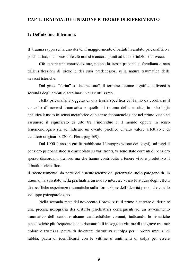 Anteprima della tesi: Il trauma in psicoanalisi: meccanismi di difesa implicati nelle nevrosi post-traumatiche e conseguenze del trauma sulla personalità, Pagina 1