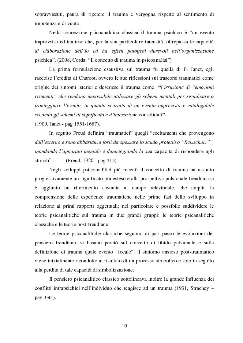 Anteprima della tesi: Il trauma in psicoanalisi: meccanismi di difesa implicati nelle nevrosi post-traumatiche e conseguenze del trauma sulla personalità, Pagina 2