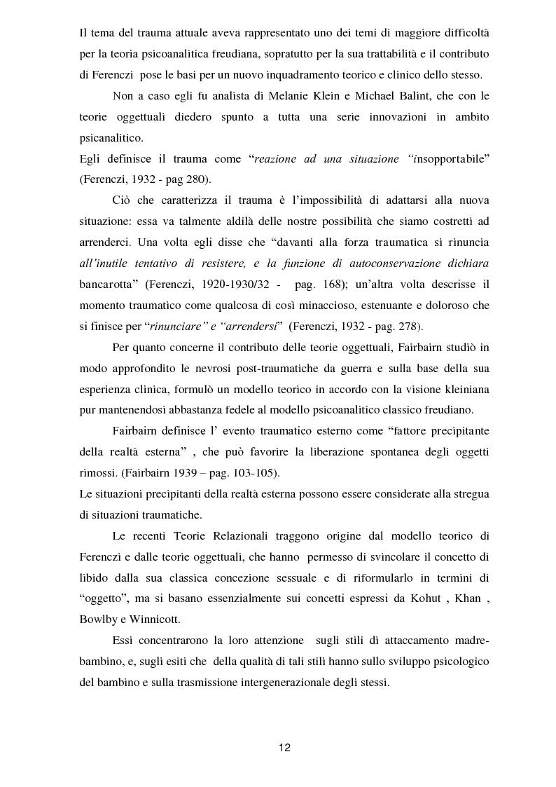 Anteprima della tesi: Il trauma in psicoanalisi: meccanismi di difesa implicati nelle nevrosi post-traumatiche e conseguenze del trauma sulla personalità, Pagina 4