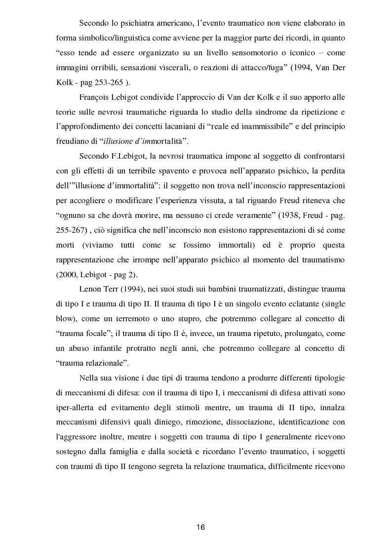 Anteprima della tesi: Il trauma in psicoanalisi: meccanismi di difesa implicati nelle nevrosi post-traumatiche e conseguenze del trauma sulla personalità, Pagina 8