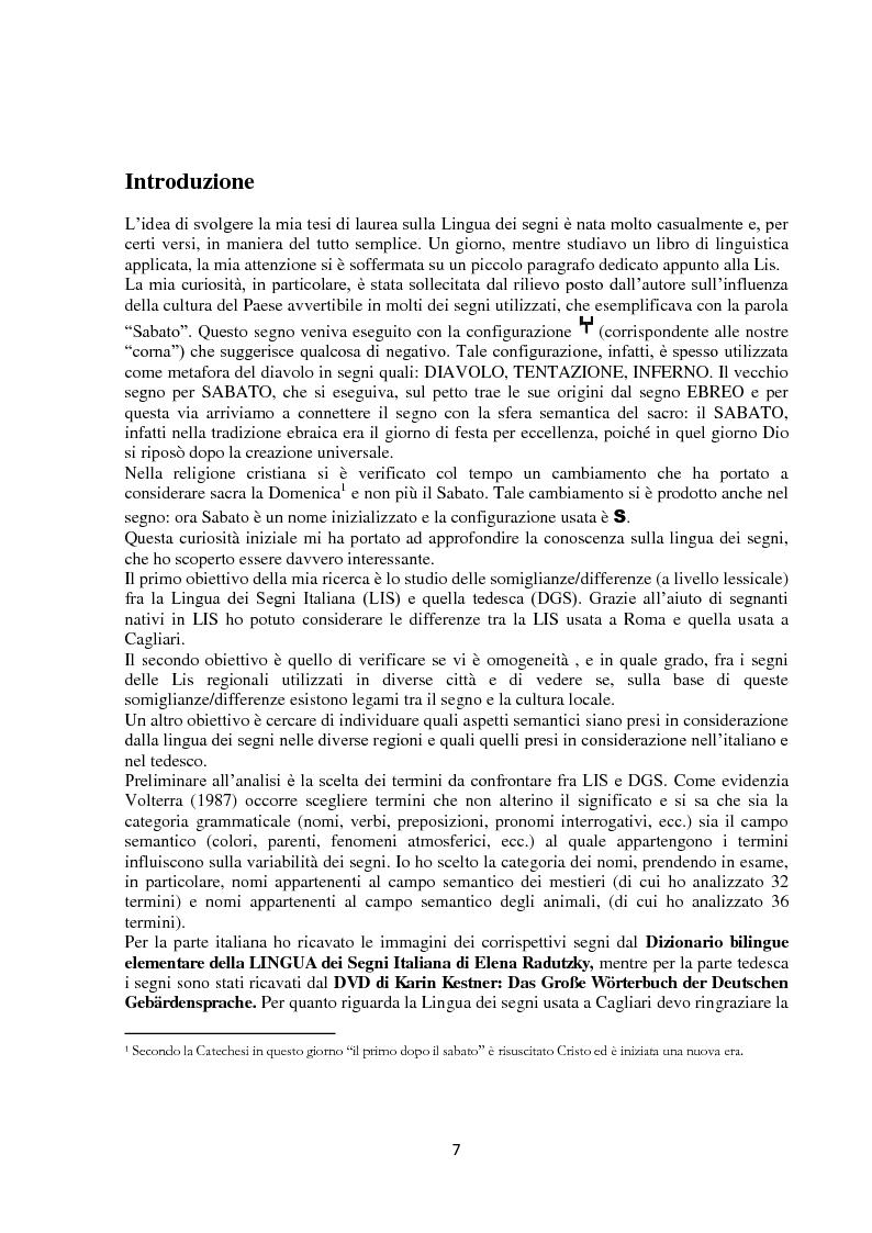 Anteprima della tesi: Lingua dei segni italiana e tedesca: un'analisi comparativa. Il campo semantico dei mestieri e degli animali., Pagina 1